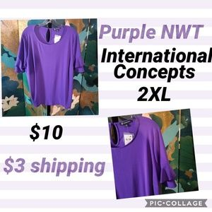 Purple top with ruffled bell sleeves